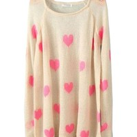 Pink Heart Print Knit Tops