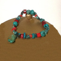 Turquoise and red coral bracelet with turquoise dangle stretch cord