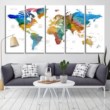 12242 - Large Wall Art World Map Canvas Print- Custom World Map Push Pin Wall Art- Custom World Map Canvas Poster Print- Personalized Wall Art