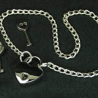 BDSM Locked Chain Collar Silver Tone Heart Lock Small Day Collar Bdsm jewelry locking collar