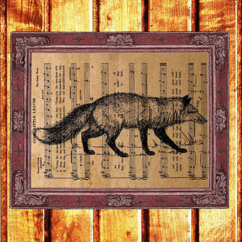 Fox print Animal decor Nature poster Vintage music sheet art