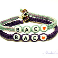 Bae Bracelets for Best Friends or Couples, Before Anyone Else, Pastel and Dark Purple Hemp Jewelry