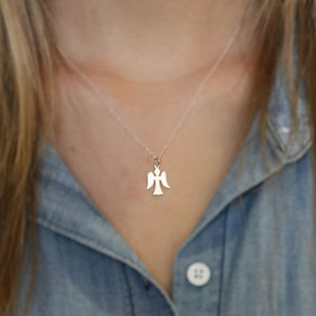 Angel Necklace - Sterling Silver Angel Necklace - Small Angel Pendant - Angel Charm Necklace -Guardian Angel Necklace -Dainty Angel Necklace