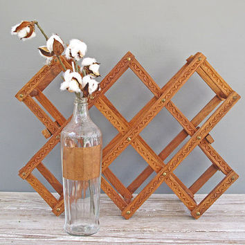 vintage carved wood wine rack towel holder by KatyBitsandPieces