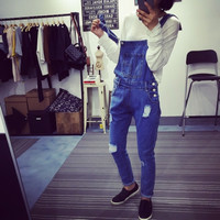 Ripped Wind Loose Thin Overalls with Pocket