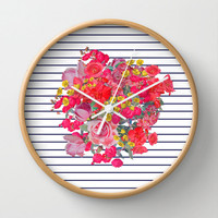 Fun Selection of Vintage Floral Print wall clocks that are made to order from my artwork.Select your own frame and hands colors.Customizable