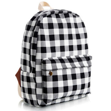 Korean Stripes Striped Animal Floral Cute Lovely Canvas Backpack = 4888015044