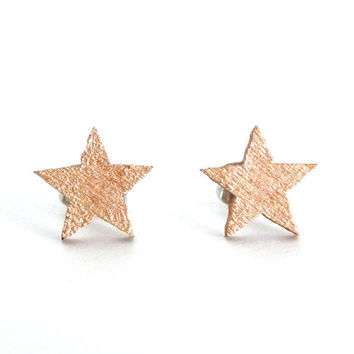 Rose gold star earrings, wood studs, star studs, tiny star earrings