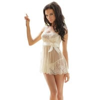 Womens Exotic Dresses White Transparent Bridal Mesh Lace Crochet Floral Bowknot Dress Sleepwear Robes #2415
