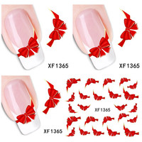 1 Aheet XF1365 Watermark Water Transfer Design Red Bowknot Tip Nail Art Sticker Nails Decal Manicure Tools