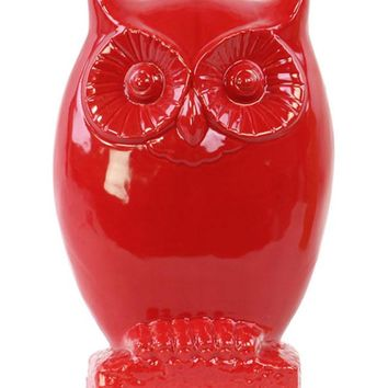 Ceramic Gloss Finish Red Small Owl Figurine on Base