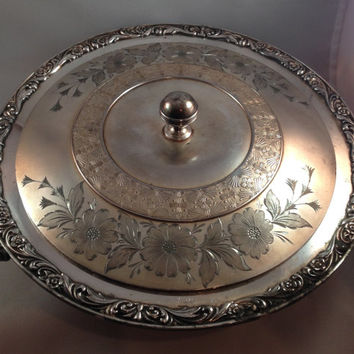 Antique Silver Cooking Pan With Lid