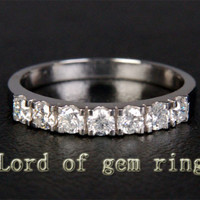 Diamond Wedding Band Half Eternity Anniversary Ring 14K White Gold .66ctw Gorgeous
