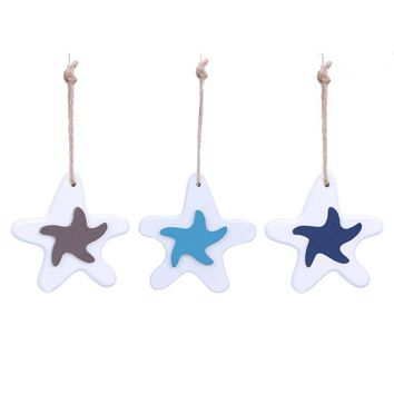 Mediterranean Style Pentagram Wood Crafts Home Decoration Small Pendant Nautical Beach Style Car Wall Hanging Ornament Pendant
