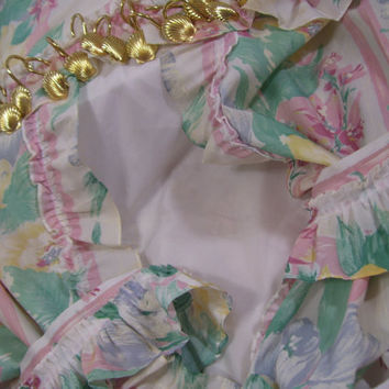 Shower Curtain Set Valance/Double Swag | Tie Backs | Gold Shell Rings | Liner/clear rings Floral Pink Blue Aqua