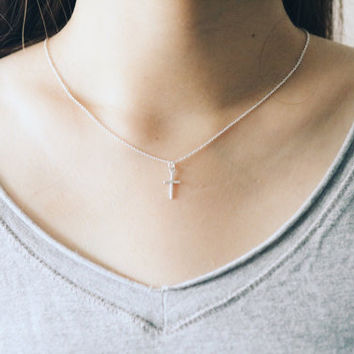 Cross Necklace, Long Cross Necklace, Silver Cross Necklace, Simple Cross Necklace, Dainty Cross Necklace, Cross Jewelry, Cross Pendant