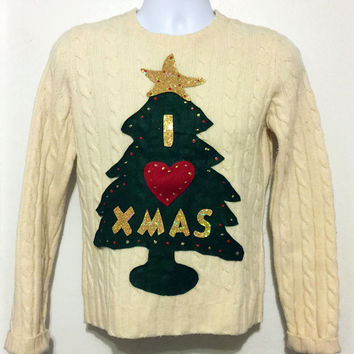 Ugly Christmas Sweater, Grinch Sweater, Christmas Sweater, Cream Sweater, Ugly Sweater Party, Small,  Item #2