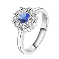 Sapphire Blue Halo Silver Ring