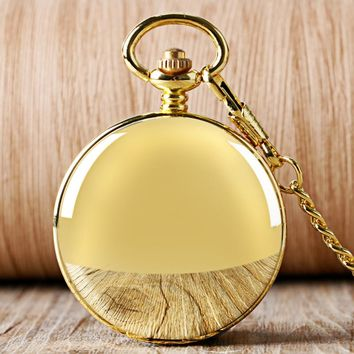 YISUYA Fashion Golden Smooth Double Hunter Case Roman Number Skeleton Steampunk Hand-wind Mechanical Pocket Watch for Men Women