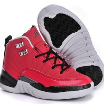 New Air Jordan 12 Retro Kids Shoes Chicago Bulls Red Black