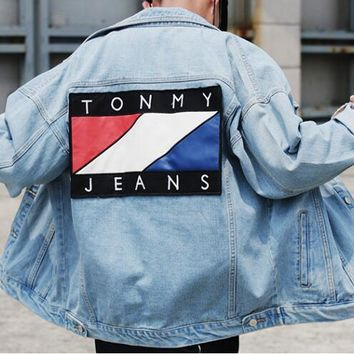 Tommy Jeans Fashion Women Men Casual Long Sleeves Denim Cardigan Jacket Coat
