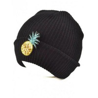 ONETOW Outdoor Pineapple Shape Sequins Knitted Beanie - Black