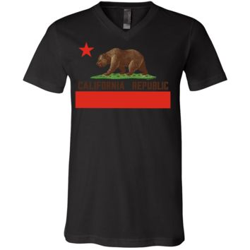 Don Pimentel California Republic Bear Flag Brown Text Asst Colors V-Neck