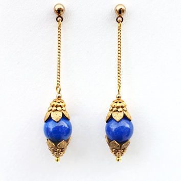 Elegant Drop Earrings, Chain Earrings, Gold Chain Earrings, Blue Dangle Earrings, Moroccan Earrings