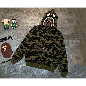 BAPE Camouflage Men and Women Couple Shark Hooded Cardigan Jacket F-XMCP-YC  Camouflage green