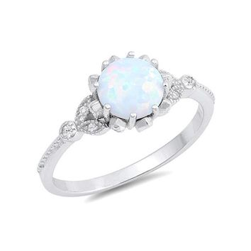 Sterling Silver Round Created White Opal & CZ Floral Ring