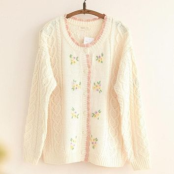 Autumn New Women Knitted Sweater Cardigan Outwear Cable Knit Ladies Sweat Handmade Flowers Loose One size Sweater Mori Girl