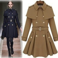 Runway Chic Military Inspired Brown Poncho Woolen Coat. Winter Coat