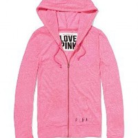 Lightweight Tri-Blend Perfect Zip Hoodie - PINK - Victoria's Secret