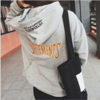 """Vetements""Letters printing sets loose hooded sweater pullover grey"