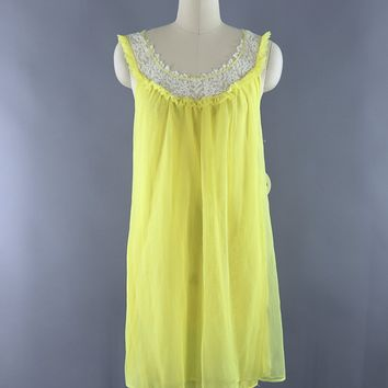 079a43bc687 Vintage 1960s Yellow Chiffon Lace Nightgown