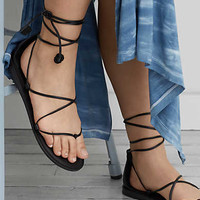 AEO Strappy Ankle Tie Sandal , Black