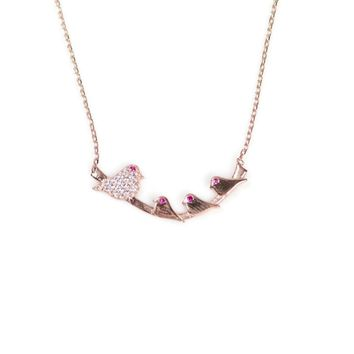 18k Rose Gold Vermeil Created Ruby-Eyed Mommy Bird Branch Necklace
