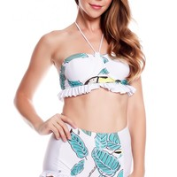 WHITE MULTI PRINT PADDED CHEST RUFFLED TRIM HI WAIST BOTTOMS TWO PIECE SWIMSUIT