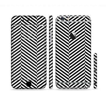 The Black and White Opposite Stripes Sectioned Skin Series for the Apple iPhone 6