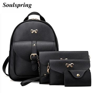 4Pcs/Set PU Leather Women Backpack Cute Bow School Bags For Teenage Girls Backpacks Fashion Chains Shoulder Bag Purse Sac A Dos
