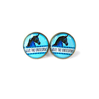 Blue Kawaii Save the Unicorns Stud Earrings - Pastel Goth & Soft Grunge Funny Pop Culture Jewelry
