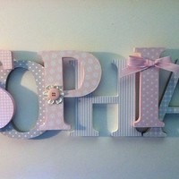 "Nursery wooden wall letters in pink and gray nursery letters child's name 8 "" wall letters initial monogram"