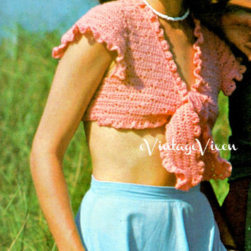 Instant Download 1970s Crochet Pattern | Midriff Ruffle Wrap | bohemian feminine boho crop top wrap top hippie flower power free beachy sexy