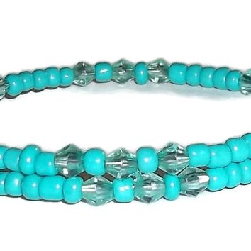 Petite Turquoise Glass Teal Crystal Beaded Artisan Crafted Stackable Wrap Bracelet (XS-S)