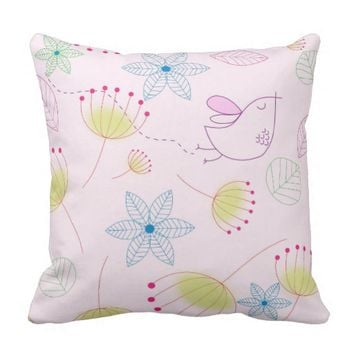 Pink Birds N' Things Decorative Pillow