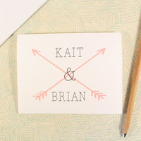 Custom Names and Arrows Note Card, Wedding Card, Bridal Shower, Engagement Party, Wedding Stationary, Thank You Card