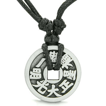 Amulet Lucky Coin Double Sided Magic and Good Luck Energy Pewter Charm Pendant Necklace