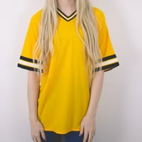 Vintage Deadstock Yellow Sports Jersey Blouse
