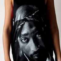 2 Pac Tupac Shakur rapper Shirts Womens Tank Top Black 2Pac Mens Shirt Tunic Top Vest Sleeveless Women T-Shirt Size S M unisex cotton