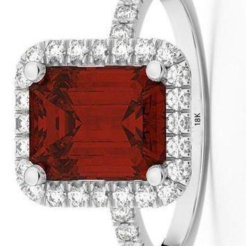 CERTIFIED 3.32ct 18k Gold Emerald Cut Garnet with Diamonds Engagement Ring